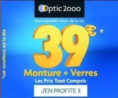 Optique 2000 : vente flash de montures avec verres correcteurs à partir de 39 euros