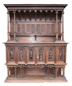 120: Monumental French Renaissance hooded buffet : Lot 0120