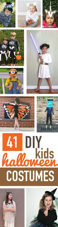 Looking for some easy DIY kids Halloween costumes? I've gathered 41 Halloween costume ideas for kids and arranged them in alphabetical order (everything from Angels to Zebras)! No need to spend a ton of money—check out these fun costume ideas!
