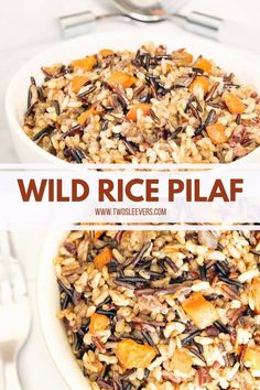 Paella, Honey Mustard Pork Chops, Wild Rice Recipes, Healthy Recipes, Wild Rice Pilaf, Rice Pilaf Recipe, Savory Rice, Rice Side Dishes, Herb Roasted Chicken