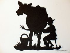 Hand Cut Silhouette Morning Milking by BackWoodsMiniatures on Etsy, $20.00