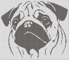 Pug Silhouette Small Cross Stitch Pattern 1 by TheSoftScientist