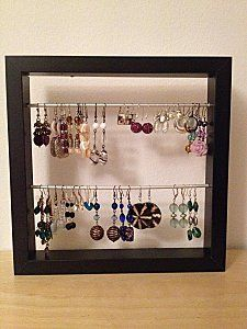 IKEA Ribba Picture Frame as earring holder. I'd hang this on the wall as art! Earring Hanger, Earring Storage, Earring Display, Jewellery Storage, Jewelry Organization, Jewellery Display, Earing Organizer, Jewelry Closet, Ikea Pictures