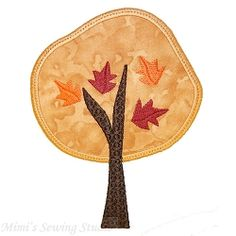 Autumn Trees Applique Set, 4 Designs - 5x7   What's New   Machine Embroidery Designs   SWAKembroidery.com Mimi's Sewing Studio