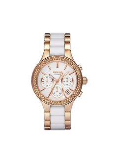 WHITE AND ROSE GOLD CERAMIC WATCH WITH GLITZ, DKNY