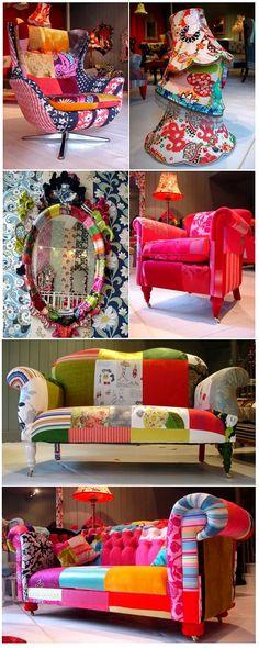Adoro esses móveis em patchwork! Esses pertencem à artista britânica Lisa Whatmough e são vendidos em sua loja em Londres Squint Limited ( vale apena entrar no site e conferir mais trabalhos dela. …
