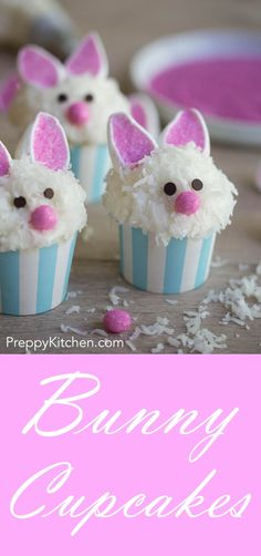Super-cute bunny cupcakes for easter that will hippity-hip right into into your . Super-cute bunny cupcakes for easter that will hippity-hip right into into your mouth! via Preppy Kitchen recipes dessert Easter Bunny Cupcakes, Easter Treats, Easter Food, Minion Cupcakes, Easter Cake, Easter Dinner, Easter Brunch, Cupcake Recipes, Cupcake Cakes