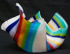Carol Perry |  'Leprechaun Symphony' Fused glass tapestry bowl. #trendandtradition