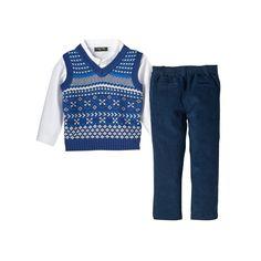 Baby Boy Only Kids Apparel Argyle Sweater Vest, Plaid Shirt & Corduroy Pants Set, Size: 12 Months, Blue (Navy)