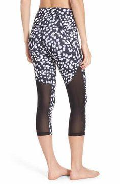 Zella 'Live In - Sultry' High Waist Mesh Crop Leggings  #zella #workout | Shop @ FitnessApparelExpress.com