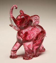 Murano speckled rose art glass elephant.
