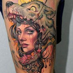 Girl with 3d wolf head tattoo