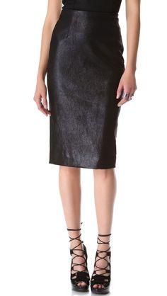Cushnie et Ochs | Leather Skirt in black