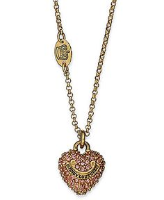 Juicy Couture Necklace, Gold-tone Pink Pave Heart Necklace - Fashion Jewelry - Jewelry & Watches - Macy's