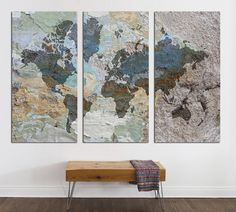 24 best 3 panel split abstract world map canvas print images on 3 panel split abstract world map canvas print15 deep framestriptych art for homeoffice wall decor interior design gumiabroncs Image collections