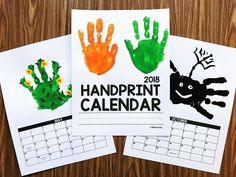 Handprint Calendar from Simply Kinder. This no-fuss calendar will be a perfect gift for your families. It's editable so you can change the calendar year after year and it's one page per month so there is no fumbling with matching the backs of months to Christmas Gifts For Parents, Christmas Crafts, Christmas Activities, Kids Christmas, Daycare Crafts, Crafts For Kids, Children Crafts, Kindergarten Gifts, Kindergarten Christmas