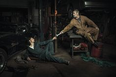 Photographer Freddy Fabris, paying homage to the Renaissance masters with midwestern auto mechanics.