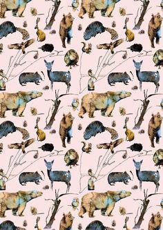 Beautiful illustration nordic animals - wallpaper illustration by jenny almén interior wallpaper, nursery wallpaper, Interior Wallpaper, Nursery Wallpaper, Wild Animal Wallpaper, Baby Zoo Animals, Fantasy Forest, Modern Kids, Designer Wallpaper, Wallpaper Designs, Reference Images