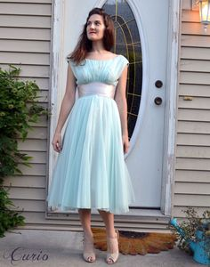 Mint Party Dress 50s / small xs Chiffon Full Circle by CurioVNTG, $185.00