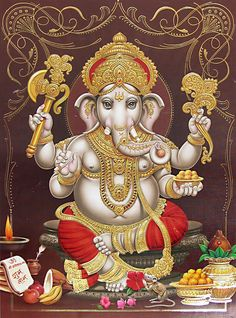 Lord Ganesha - ( Poster with Glitter ) (Reprint on Paper - Unframed)