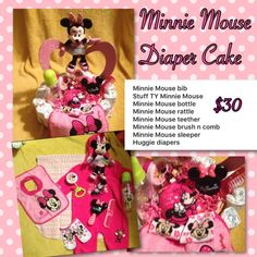 Minnie Mouse diaper cake Will be wrap in plastic with ribbon Other