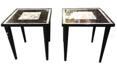 Pair, Mid Century Wood, Mirror Top Side Tables