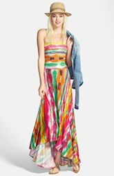 FELICITY & COCO Strapless Neon Print Maxi Dress (Nordstrom Exclusive)