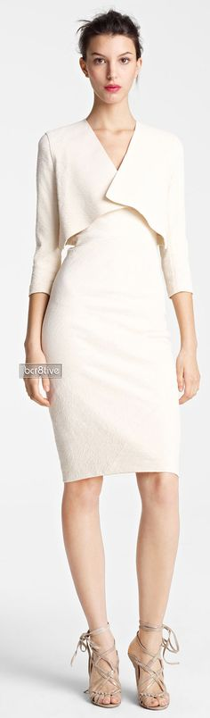 Donna Karan white dress women fashion outfit clothing style apparel @roressclothes closet ideas