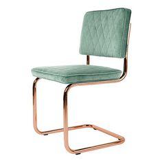 Stoel Diamond van Zuiver is een klassieke buisframe stoel in super moderne koper look!    Materiaal: 100% polyester, frame verkoperd…
