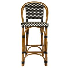 """Black+&+Cream+Counter+Height+Mediterranean+Bistro+Bar+Stool+with+Back+(26""""+h.+seat)+(E)"""