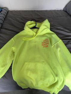 Anti Social Social Club Neon Yellow Sweatshirt/Hoodie Size 6 (S) Trendy Hoodies, Boys Hoodies, Comfy Hoodies, Sweatshirts, Cute Lazy Outfits, Retro Outfits, Hoodie Outfit, Sweater Hoodie, Anti Social Social Club