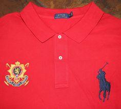 Men's Polo Ralph Lauren Size 6XL Big Red Crested 100% Cotton Short Sleeve Shirt #PoloRalphLauren6XL