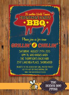 Back Yard BBQ Party Invitation - Pig Roast  - Memorial Day - July 4th - Labor Day - Adult Birthday Party - Rehearsal Dinner - Item 0113a