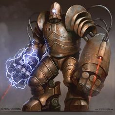 Juggernaut Golem by yigitkoroglu steampunk robot mech mecha armor clothes clothing fashion player character npc | Create your own roleplaying game material w/ RPG Bard: www.rpgbard.com | Writing inspiration for Dungeons and Dragons DND D&D Pathfinder PFRPG Warhammer 40k Star Wars Shadowrun Call of Cthulhu Lord of the Rings LoTR + d20 fantasy science fiction scifi horror design | Not Trusty Sword art: click artwork for source: