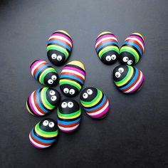 cute! - color bugs - painted rocks in rainbow brights with googlie eyes - would make cutie cute gridge magnets