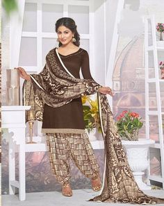 Beautiful Brown Glace Cotton unstitched Patiala Salwar suits for women - EthnicJunction
