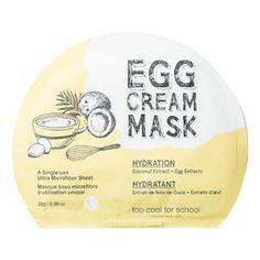 Egg Cream Mask Hydration - Masque Tissu Visage Hydratation de Too Cool For School sur Sephora.fr