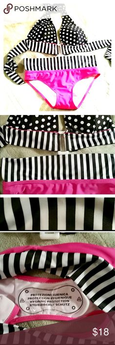 Stripes and Polka dots bathing suit Fun high waist bikini 👙 with stripes and polka dots pink, black, and white. SZ Large but very small Swim Bikinis