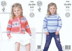 King Cole Double Knitting Pattern - Girls Cardigan & Sweater (4246) - Mill Outlets