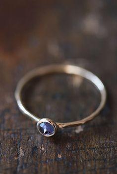 Blue iolite 14k gold stacking ring rose cut thin by BelindaSaville