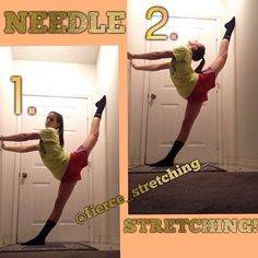 Needle stretch!! Find a wall and place your needle leg onto the wall behind you. Make sure you also have something in front of you to push off of! Your bottom leg should be as far away from the wall as you'd like (what you are most comfortable with) but to get a good stretch you want your leg far from the wall :) lean back and try to get your head to touch your butt! Happy stretching!⭐️ ∞Meg