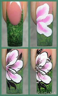 cool Nail art Step by step flower. Gel Nail Art Designs, Flower Nail Designs, Diy Manicure, Diy Nails, Nail Art Diy, Cool Nail Art, Witch Nails, Sculptured Nails, Nailart