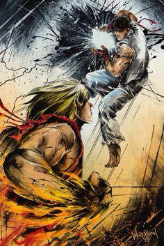 Ryu vs. Ken #art #Videogames