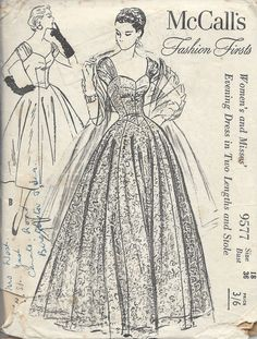 McCall's Fashion Firsts gown sewing pattern 9577 Vintage Knitting, Vintage Sewing Patterns, Knitting Patterns, History Page, London College Of Fashion, Pattern Cutting, My Collection, Vintage Fashion, Vintage Style
