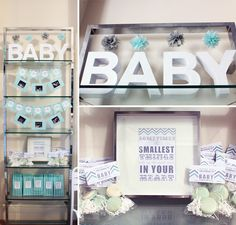Gray and Mint Baby Shower with Chevron Details for Two Friends
