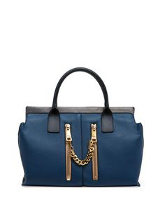 classic blue with gold zippered accents - what is not to love??? Cate Medium Double Zip Satchel Bag, Blue by Chloe at Neiman Marcus.