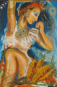 Chasca's themes are the sun, fire, divination and love. Her symbols are the sun, fire and flowers. In Incan tradition, this Goddess created the dawn and twilight, the gentlest aspects of the sun. Along with Her consort, the sun god Inti, She uses light to draw sprouts from the ground and inspire blossoms. Her rapport with Inti and Her tender nature give Chasca associations with love. According to lore, She communicates to people through clouds and dew in a type of geomantic observation.