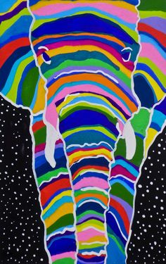 Multicolor Elephant Gouache Painting, Colorful Elephant Gouache Painting, African Elephant Gouache Painting