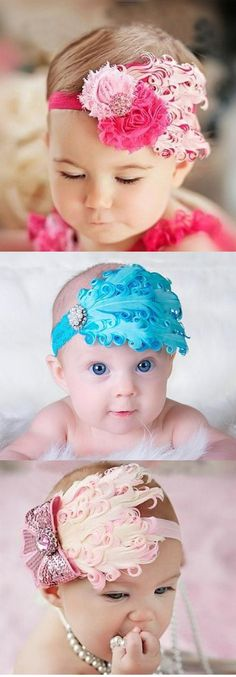 Excellent Free On-line Market Baby Bows, Baby Headbands, Baby Headband Tutorial, Girl Hair Bows, Girls Bows, Baby Couture, Feather Headband, Cute Little Things, Baby Portraits