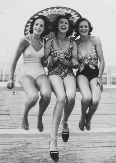 Bathing suits were still more modest but were not as cumbersome as the suits from the late 1800's.